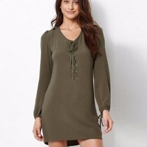 [Kendall + Kylie] Long Sleeve Green Lace Up Dress